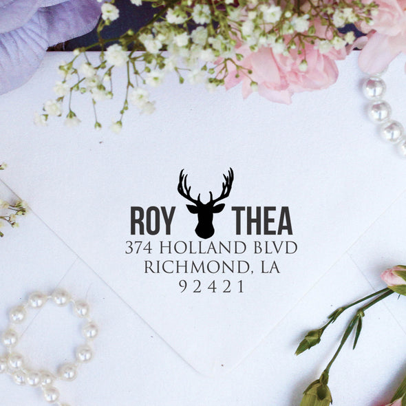 "Return Address Stamp ""Roy & Thea"""