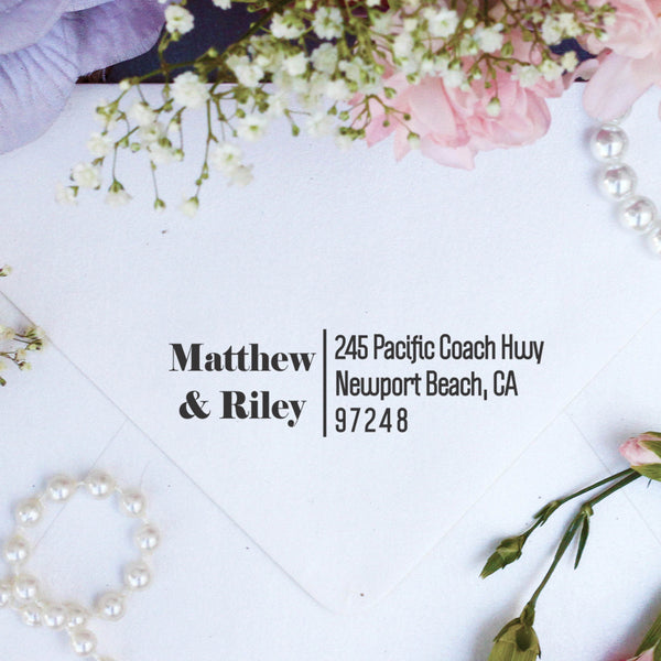 "Return Address Stamp ""Matthew & Riley"""