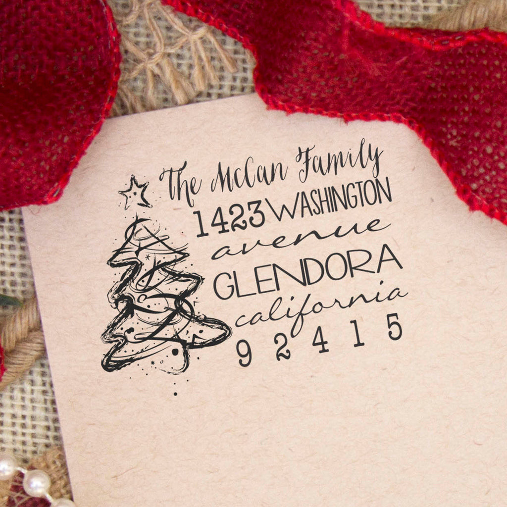 "Christmas Tree Return Address Stamp ""The McCann Family"""