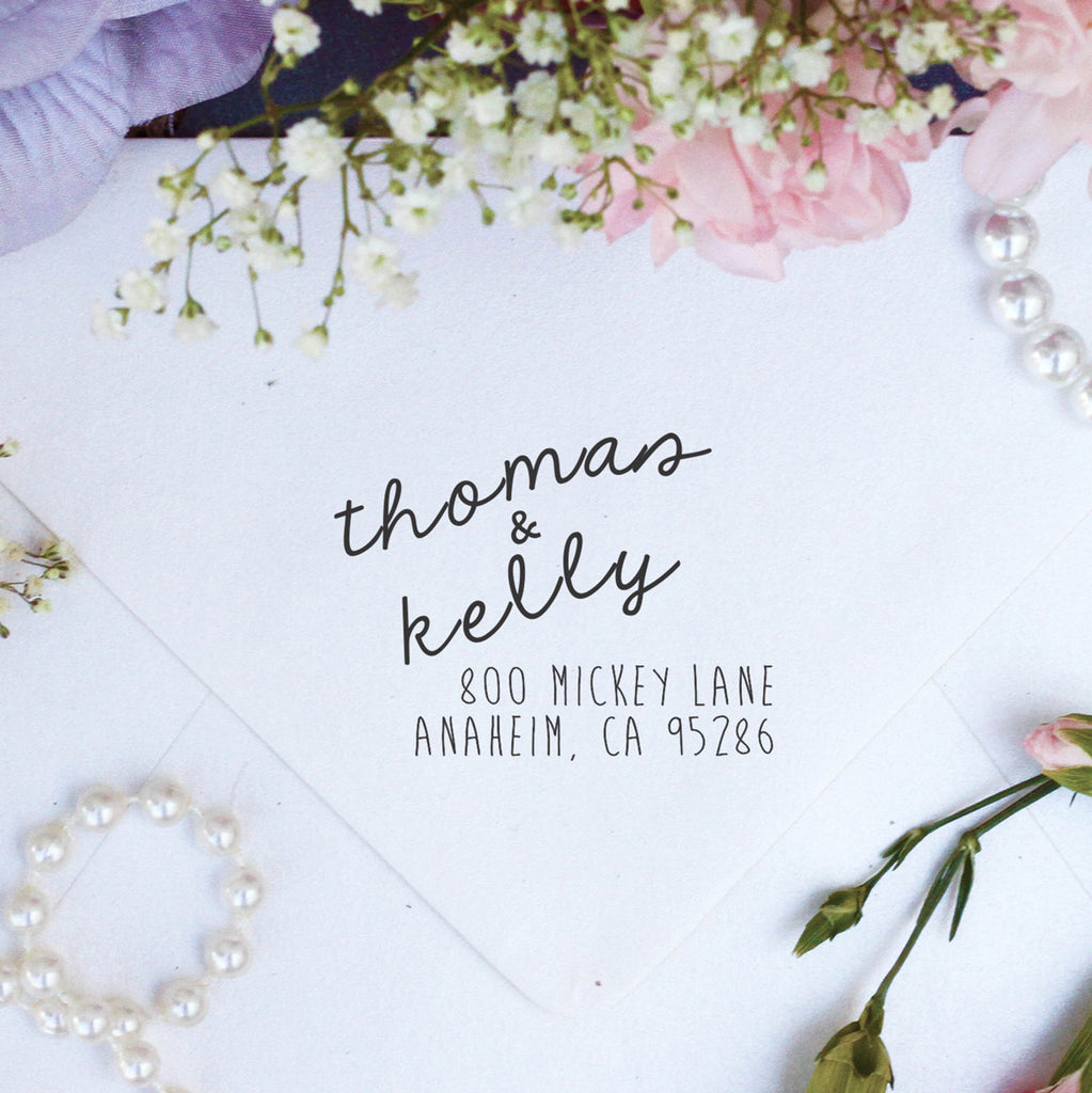 "Return Address Stamp ""Thomas & Kelly"""