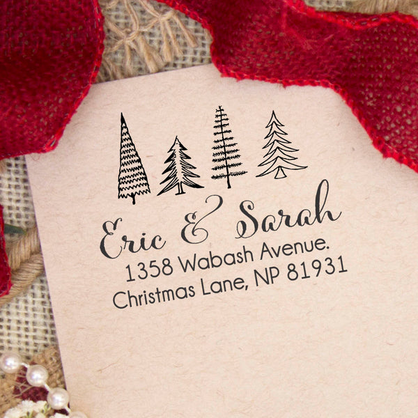 "4 Christmas Trees Return Address Stamp ""Eric & Sarah"""