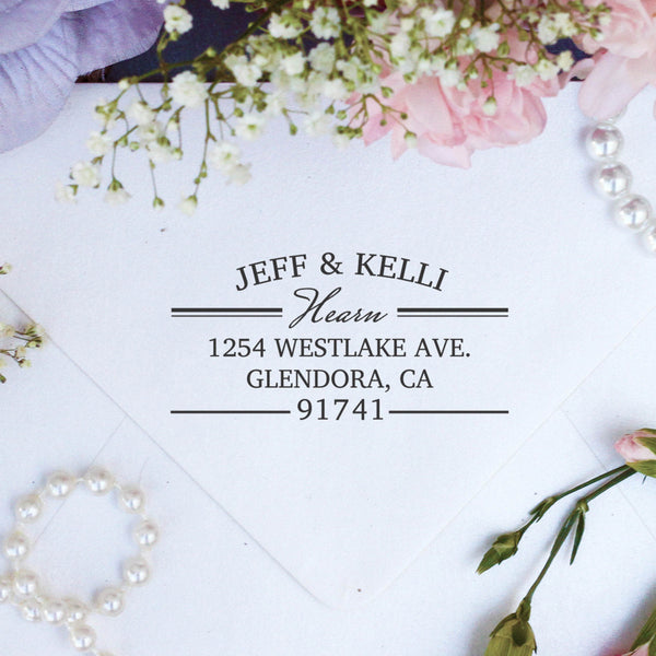 "Return Address Stamp ""Jeff & Kelli Hearn"""