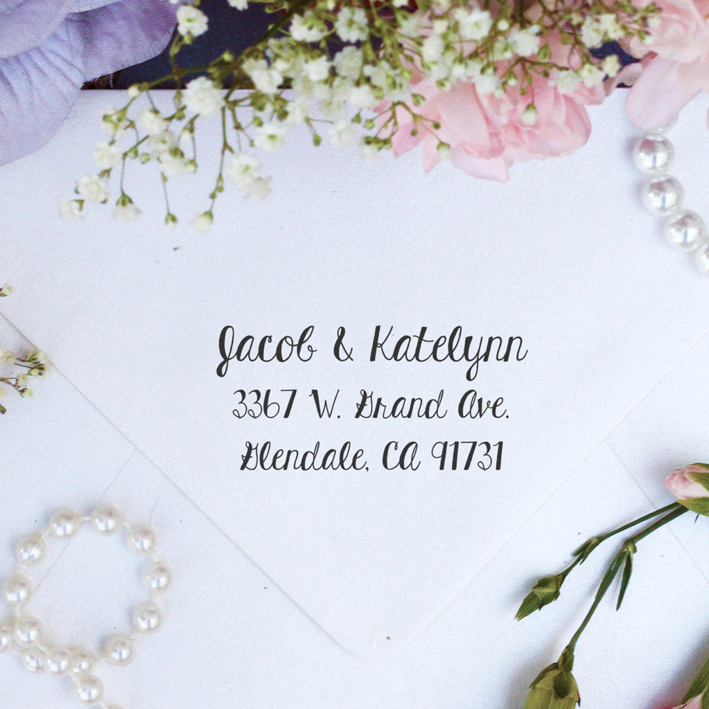 "Return Address Stamp ""Jacob & Katelynn"