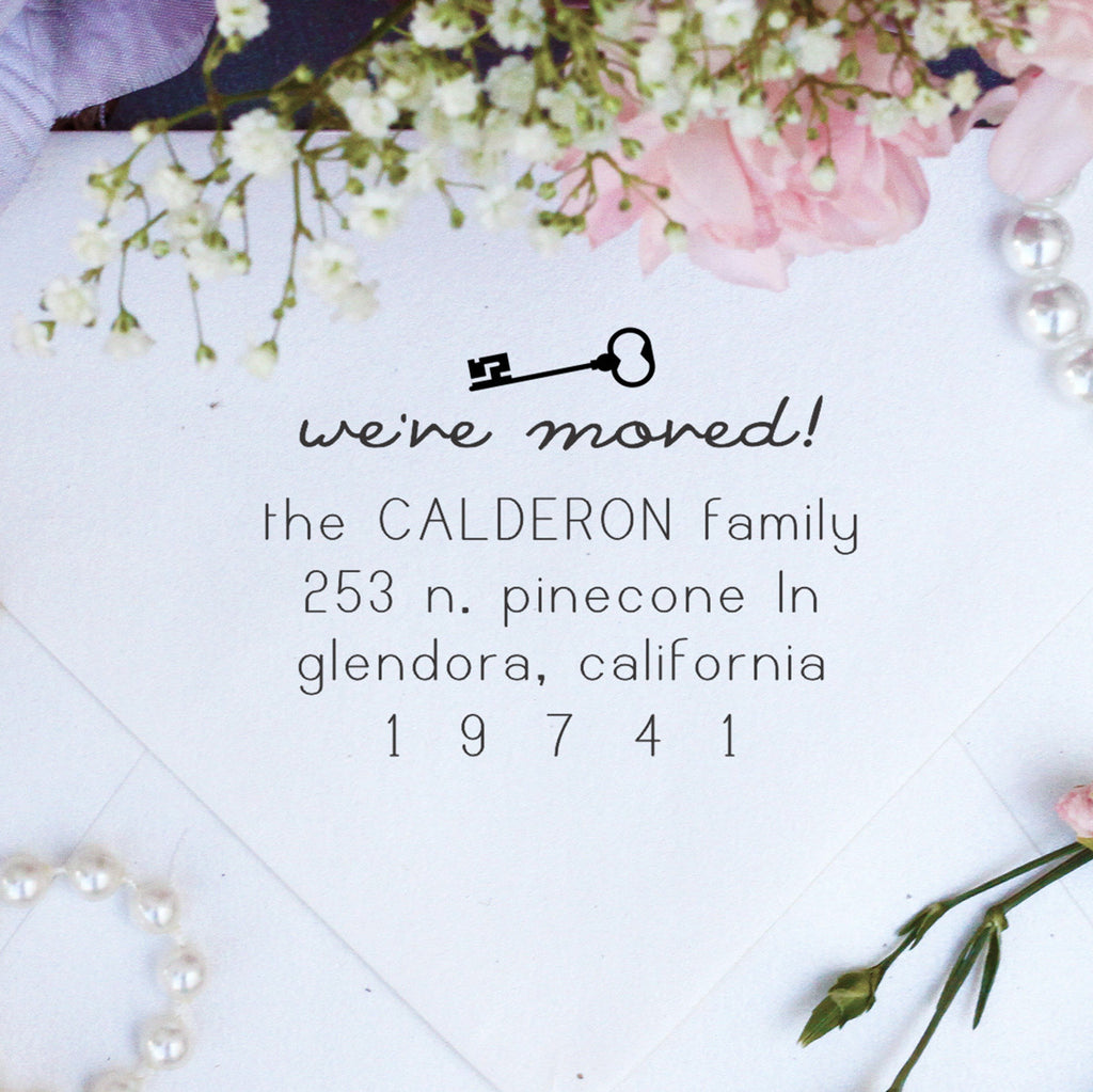 "Return Address Stamp ""We've Moved - Calderon Family"""