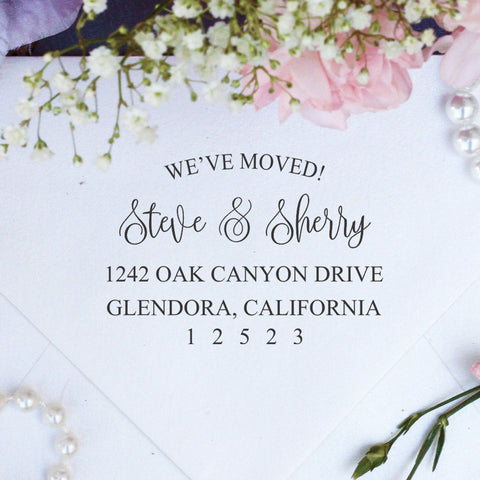 "Return Address Stamp ""We've Moved - Steve & Sherry"""