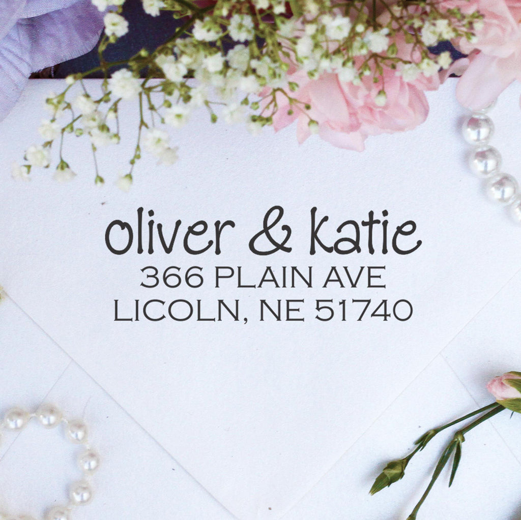 "Return Address Stamp ""Oliver & Katie"""