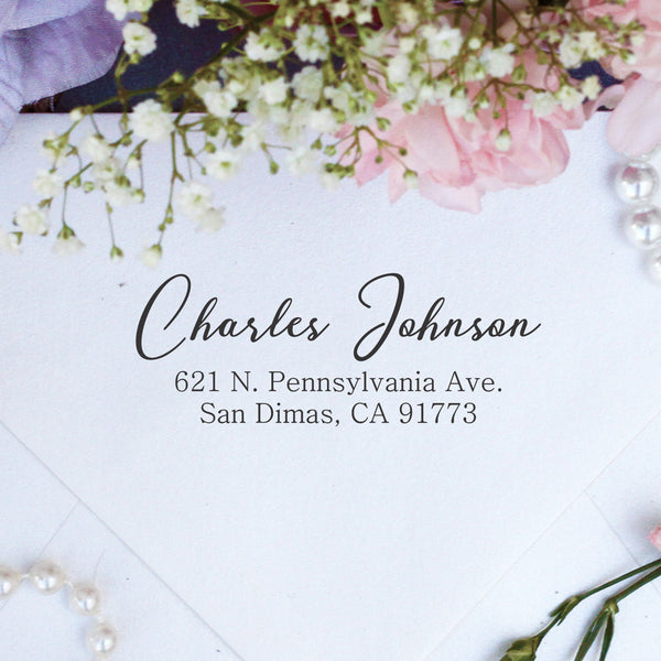 "Return Address Stamp ""Charles Johnson"""
