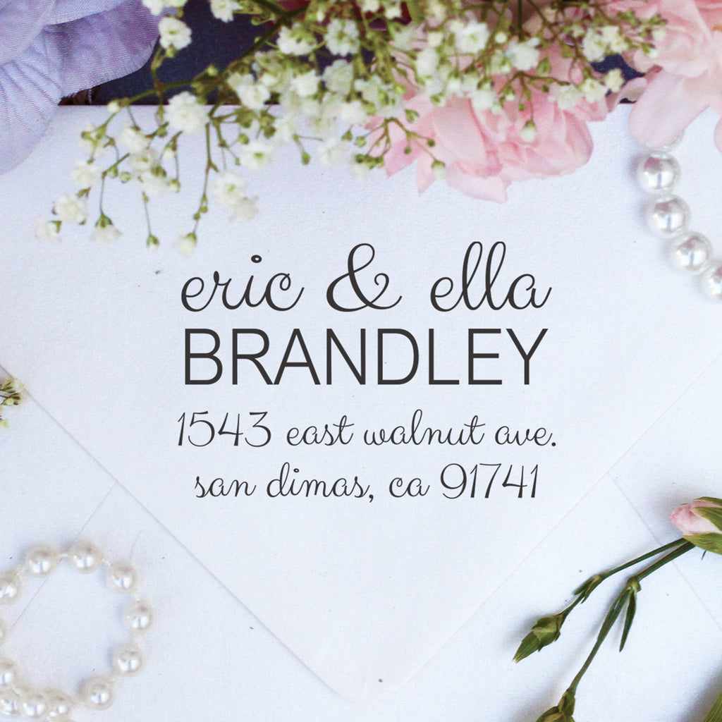 "Return Address Stamp ""Eric & Ella Brandley"""