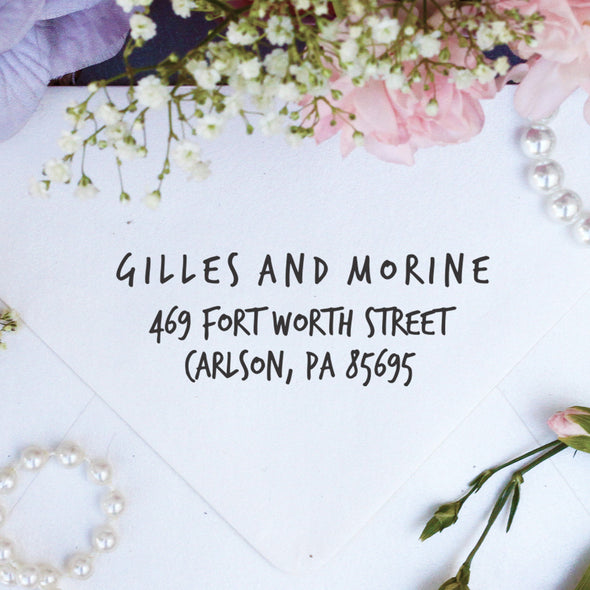 "Return Address Stamp ""Gilles & Morine"""