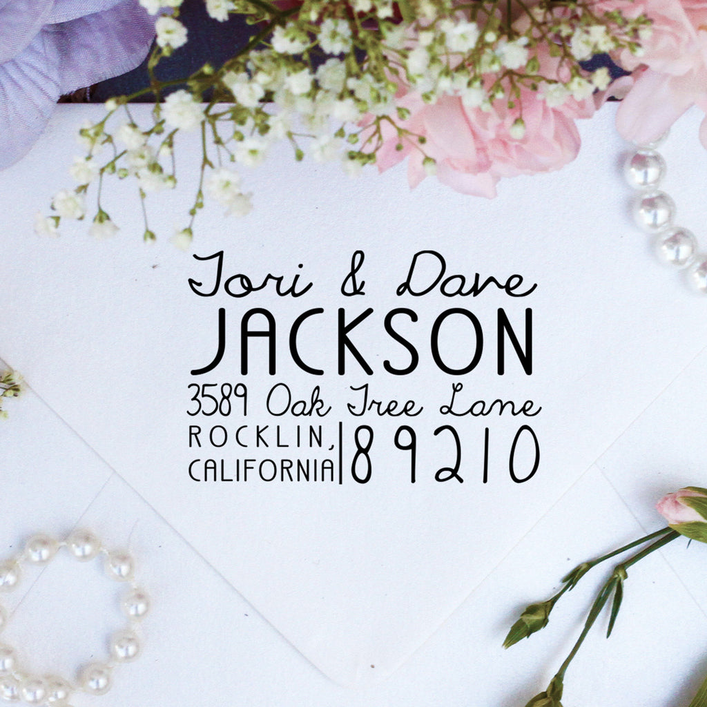 "Return Address Stamp ""Tori & Dave Jackson"""