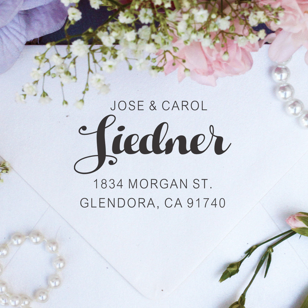 "Return Address Stamp ""Jose & Carol Sidener"""