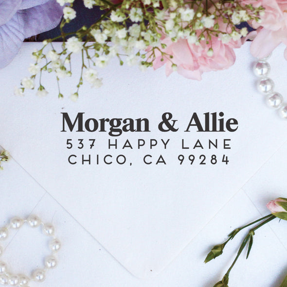 "Return Address Stamp ""Morgan & Allie"""