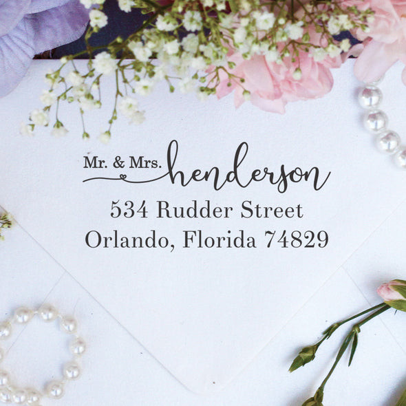 "Return Address Stamp ""Mr & Mrs Henderson"""