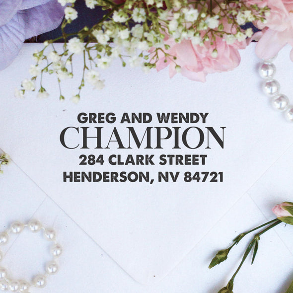 "Return Address Stamp ""Greg & Wendy Champion"""