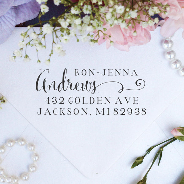 "Return Address Stamp ""Ron & Jenna Andrews"""