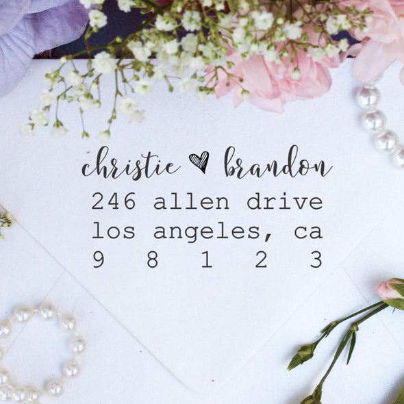 "Return Address Stamp ""Christie & Brandon"""