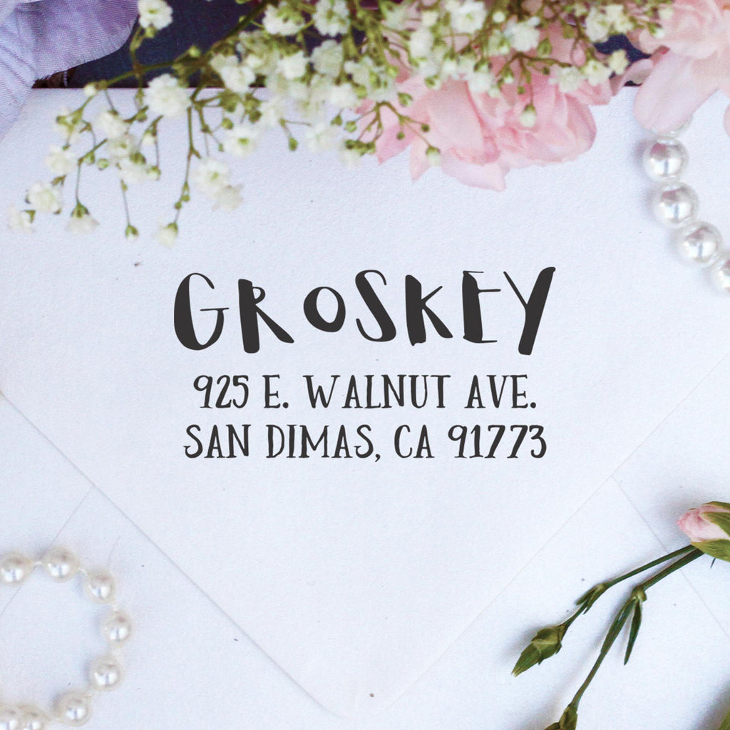 "Return Address Stamp ""Groskey"""