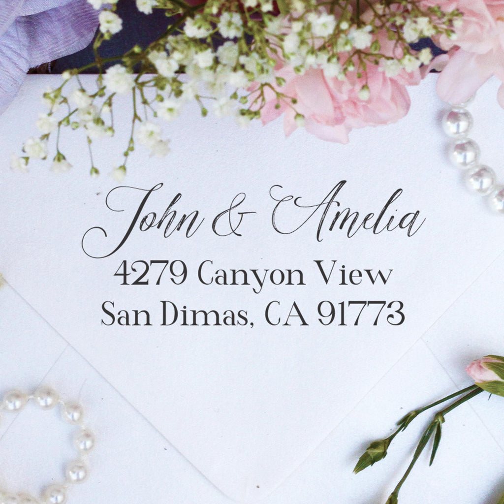 "Return Address Stamp ""John & Amelia"""