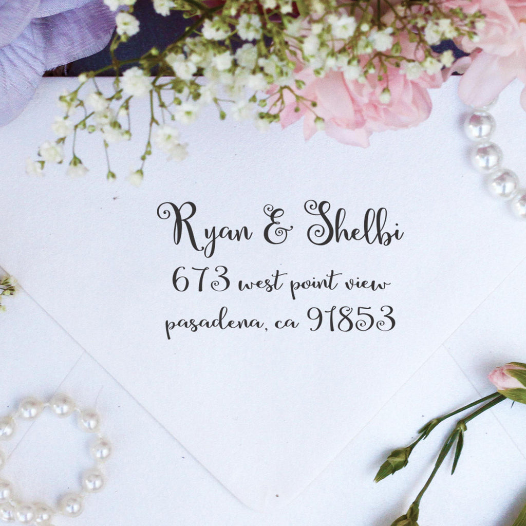 "Return Address Stamp ""Ryan & Shelbi"""