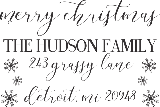 "Merry Christmas Return Address Stamp ""The Hudson Family"""