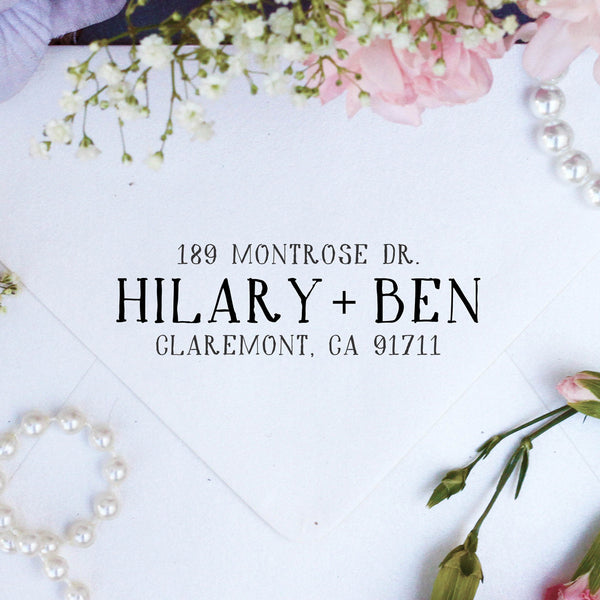 "Return Address Stamp ""Hilary & Ben"""