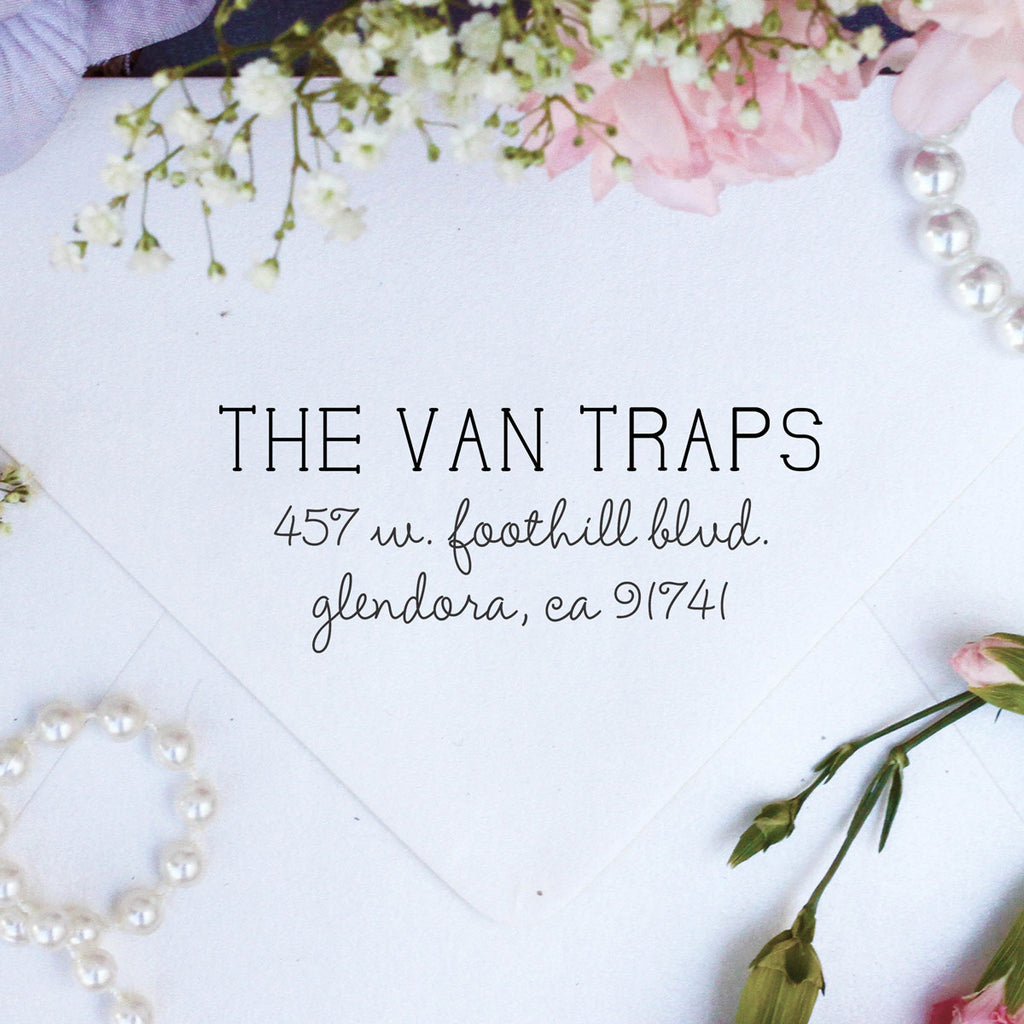 "Return Address Stamp ""Van Traps"""