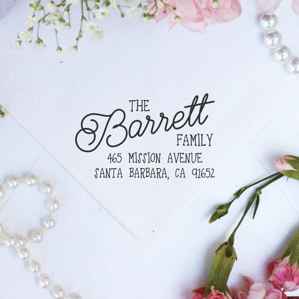 "Return Address Stamp- ""Barrett"""