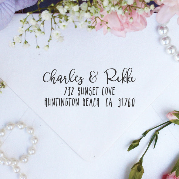 "Return Address Stamp ""Charles & Rikki"""