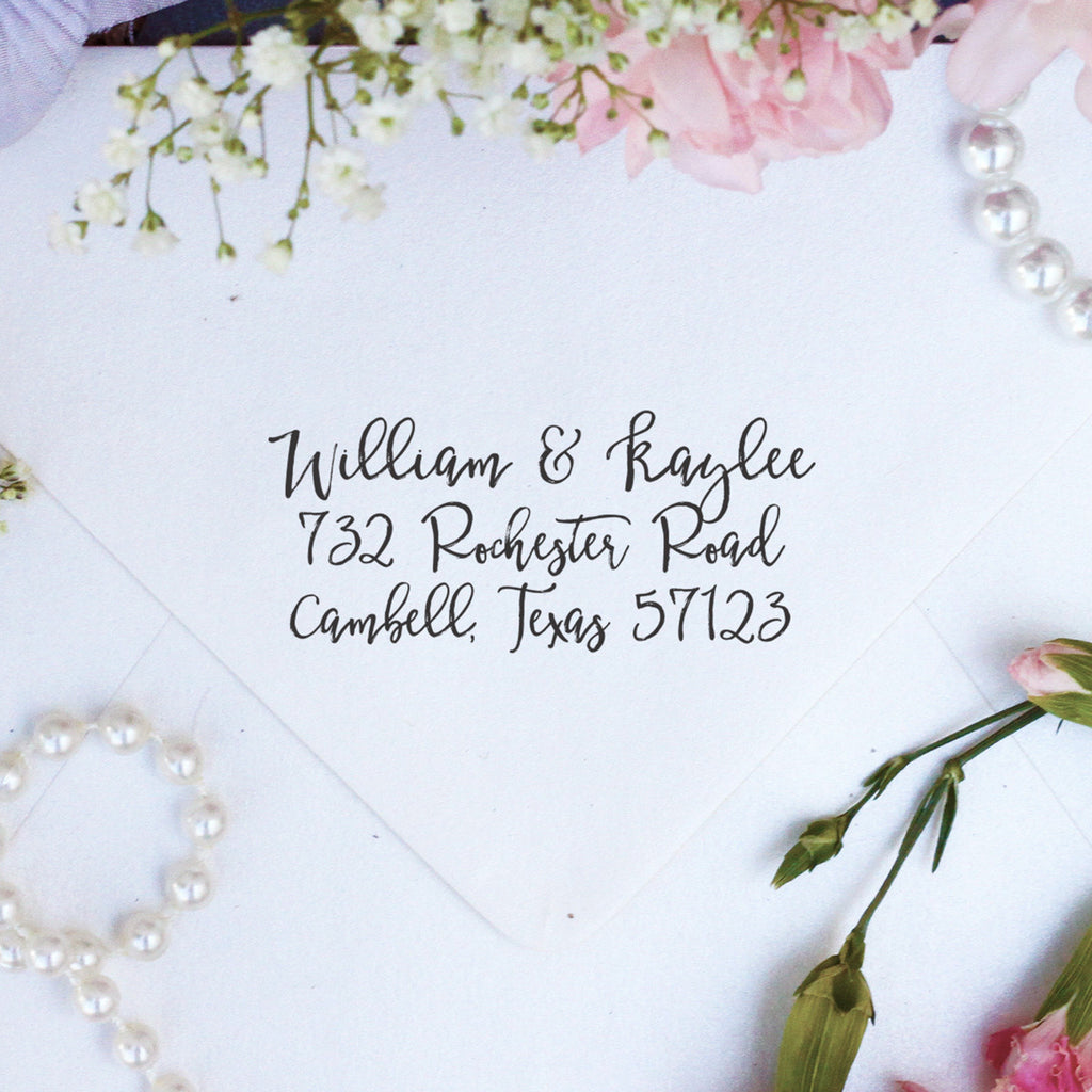 "Return Address Stamp ""William & Kaylee"""