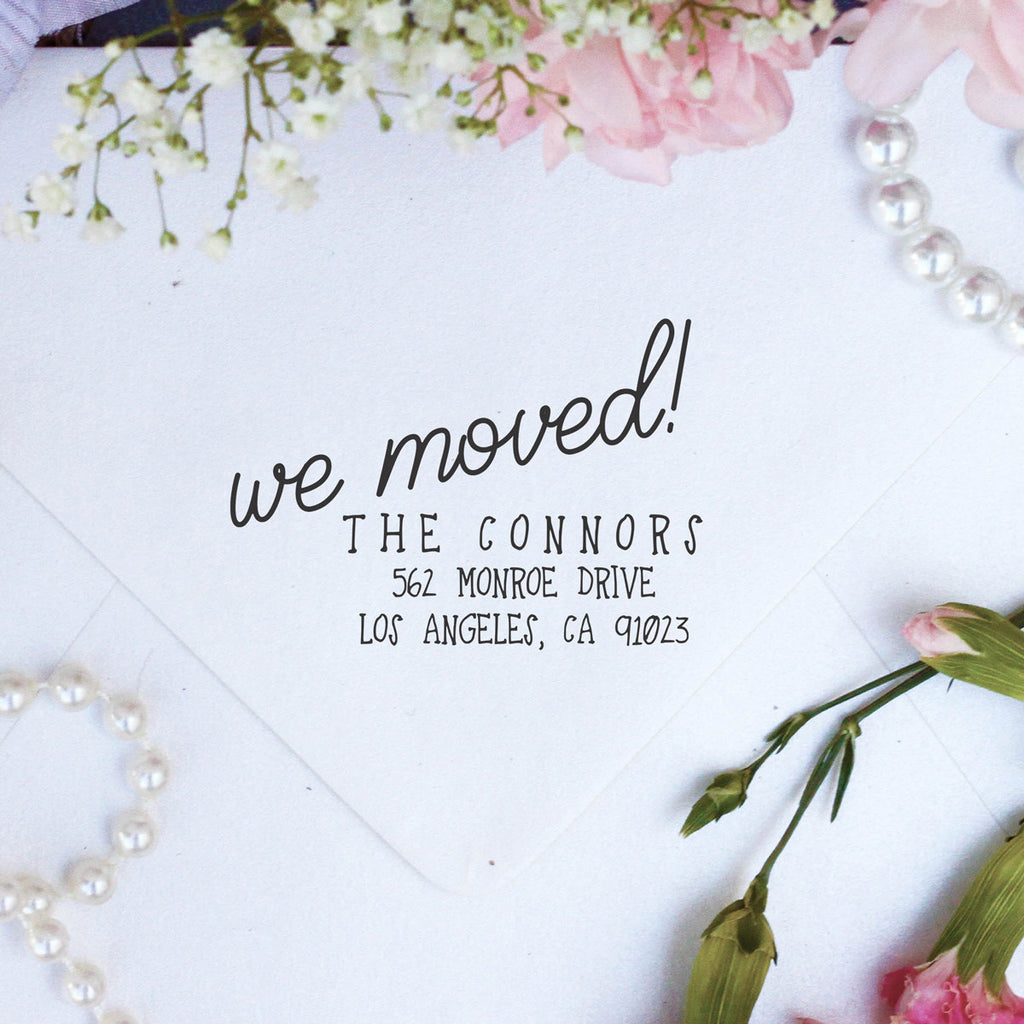 "Return Address Stamp ""Connors - We Moved"""