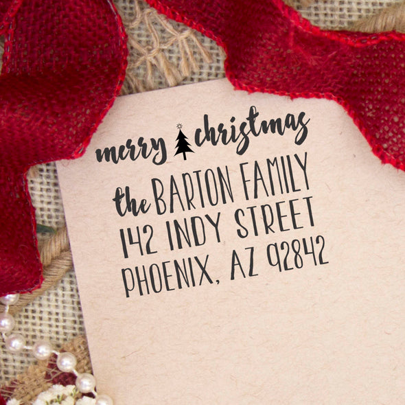 "Return Address Stamp ""Merry Christmas Barton Family"""