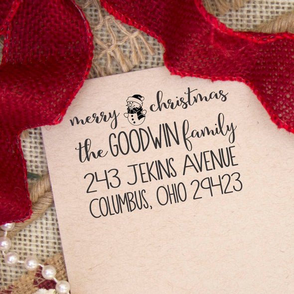 "Return Address Stamp ""Merry Christmas Goodwin Family"""