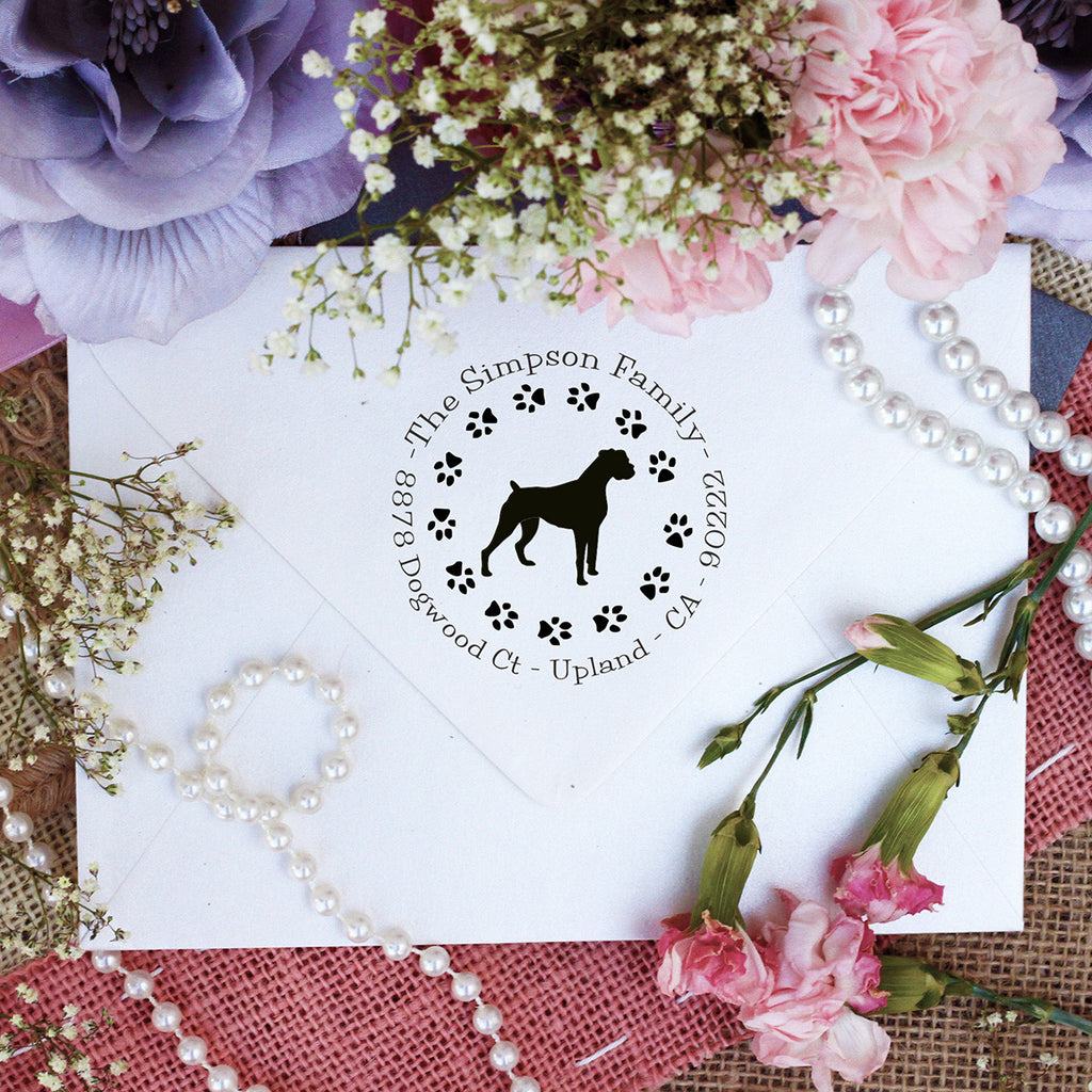 "Dog Return Address Stamp ""Boxer"""