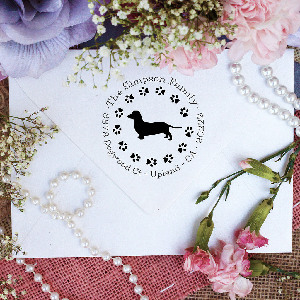 "Dog Return Address Stamp ""Dachshund"""
