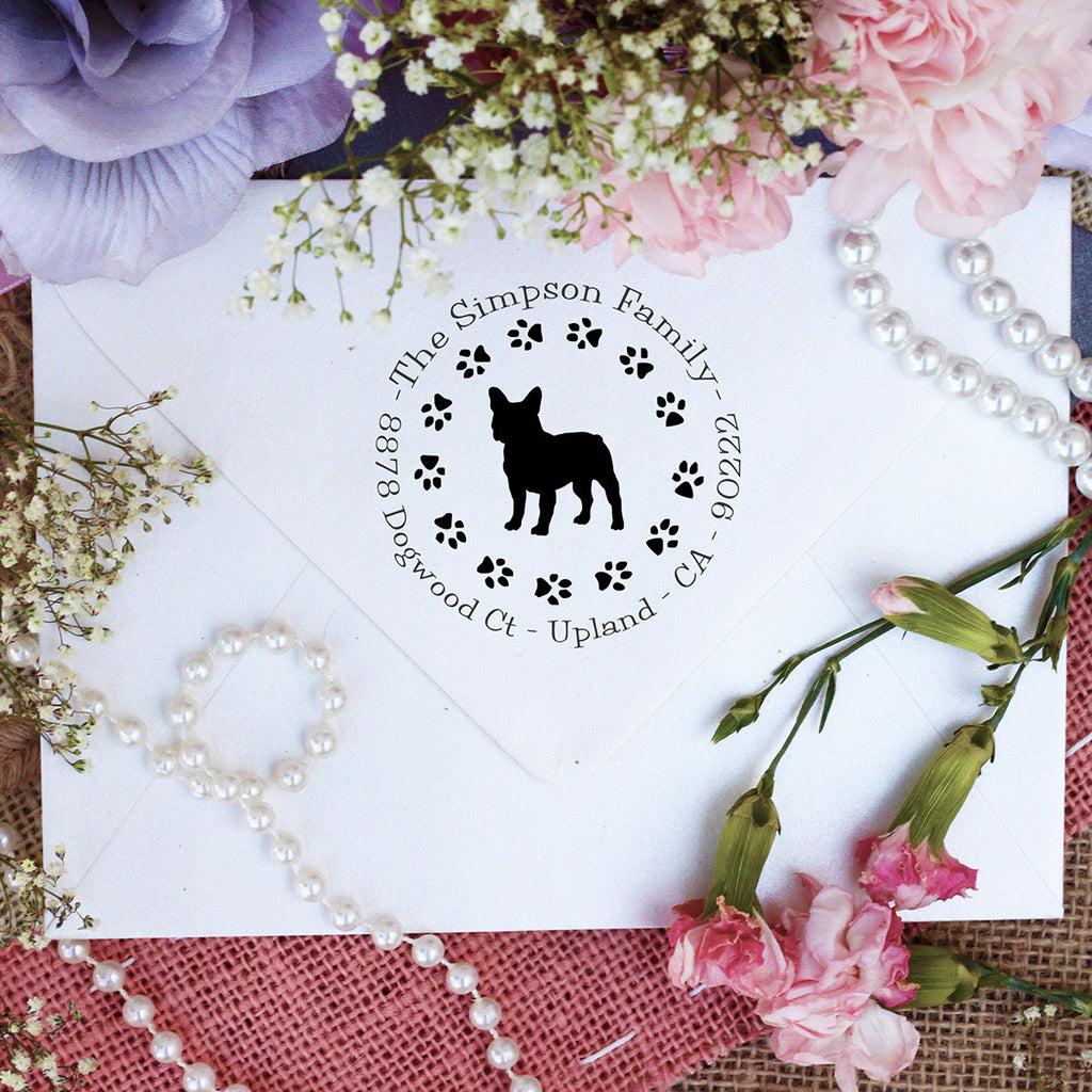 "Dog Return Address Stamp ""Frenchie"""