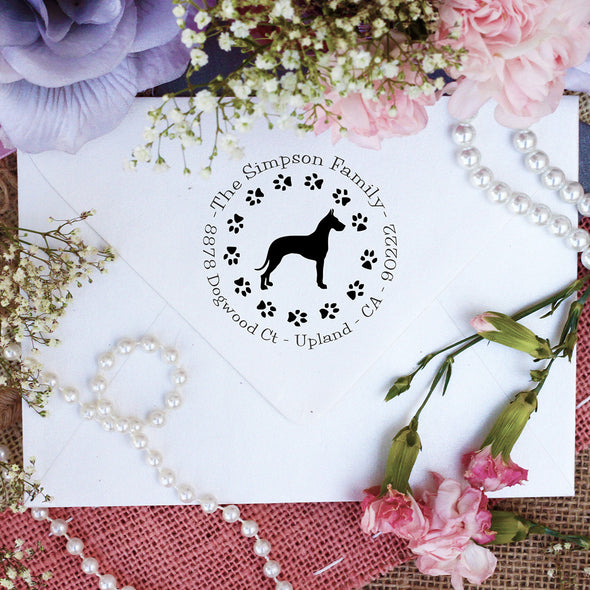 "Dog Return Address Stamp ""Great Dane"""