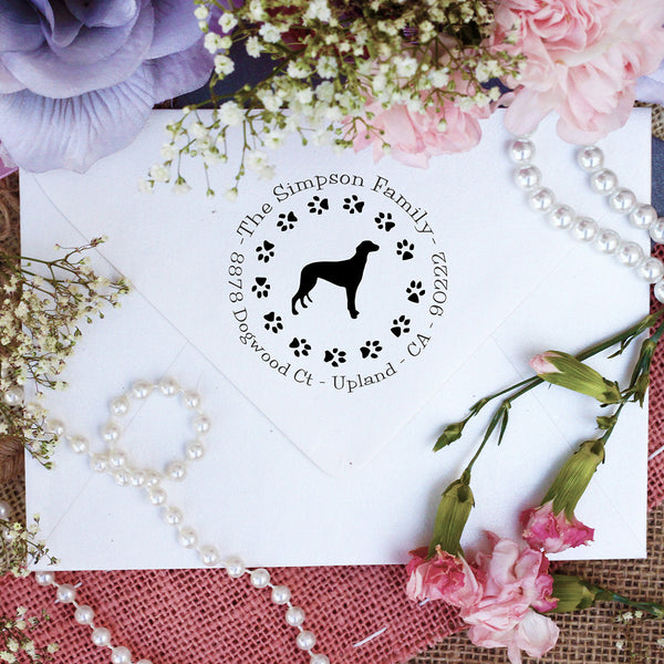 "Dog Return Address Stamp ""Grey Hound"""
