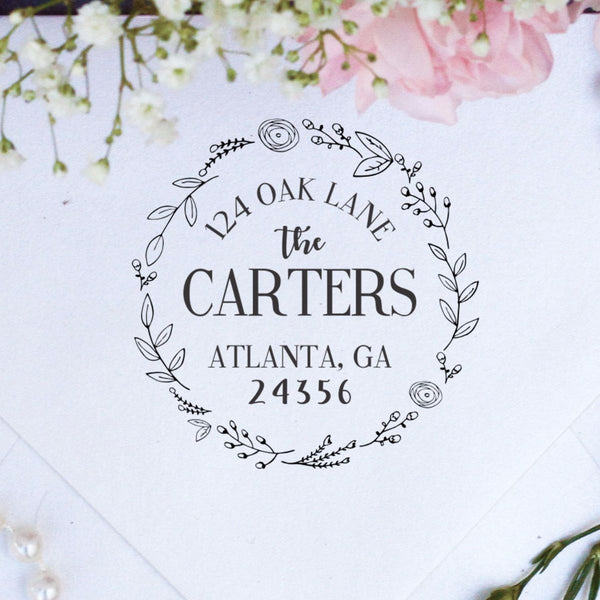 "Return Address Stamp ""The Carters In A Wreath"""