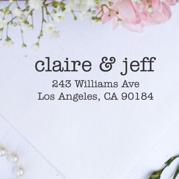 "Return Address Stamp ""Claire & Jeff"""