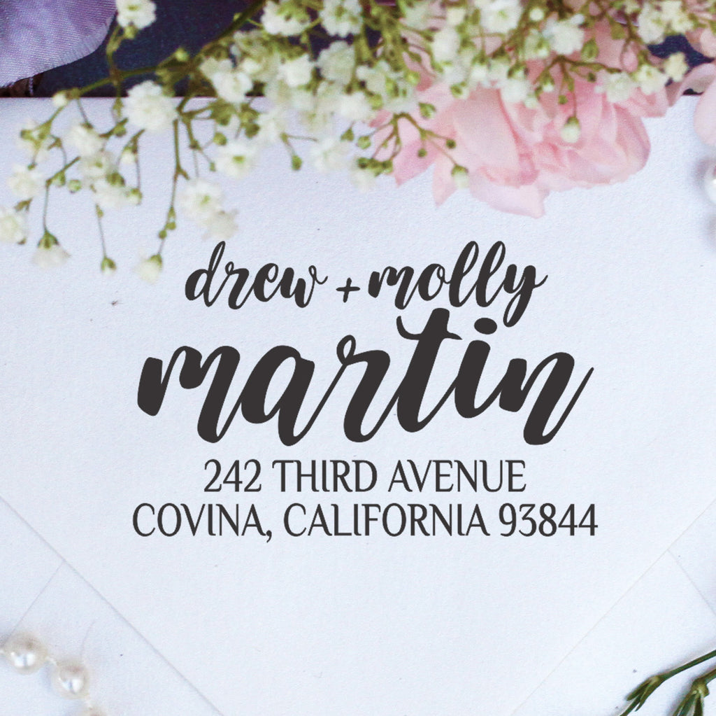 "Return Address Stamp ""Drew + Molly"""