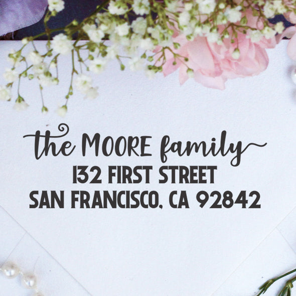 "Return Address Stamp ""The Moore Family"""