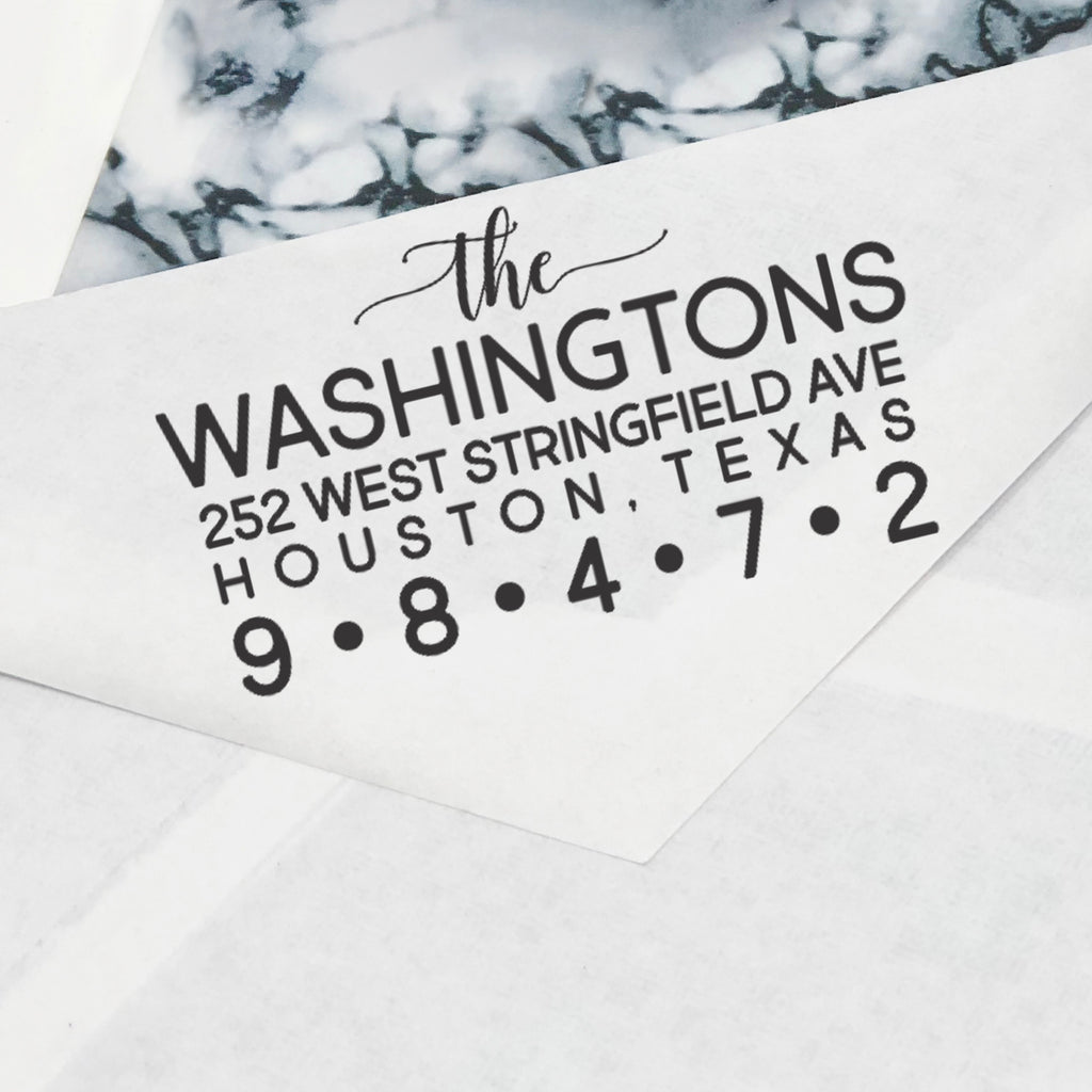 "All Caps Custom Return Address Stamp, Personalized Return Address Stamp, Family Name Return Address Stamp ""The Washingtons"""