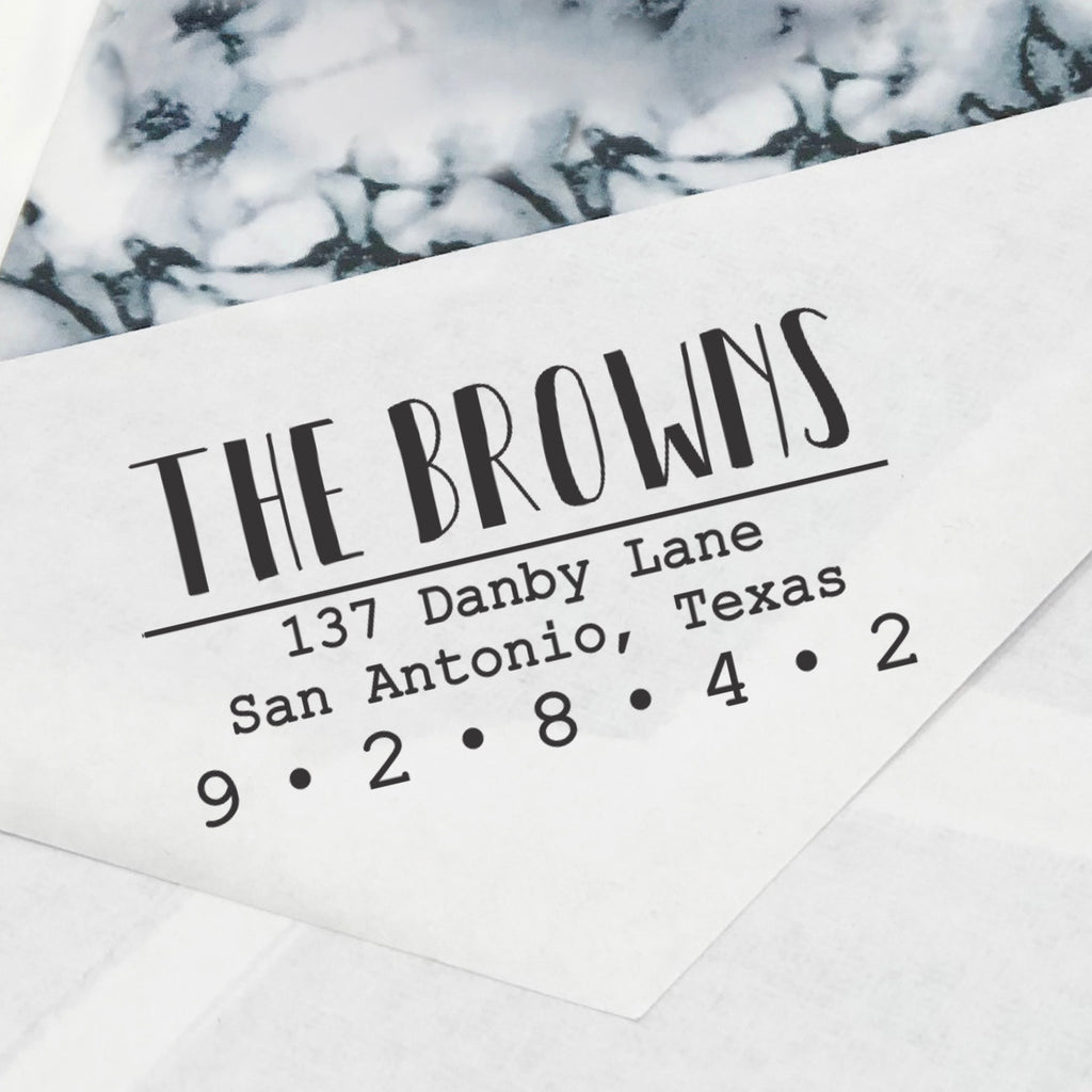 "Uppercase Personalized Return Address Stamp, Custom Return Address Stamp, Family Name Return Address Stamp ""The Browns"""