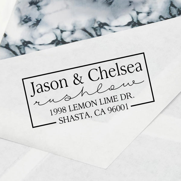 "First Names & Last Name Return Address Stamp, Custom Return Address Stamp, Personalized Return Address Stamp ""Jason & Chelsea Rushlow"""