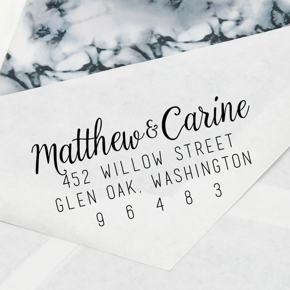 "Cursive Couples Names Return Address Stamp, Custom Return Address Stamp, Personalized Return Address Stamp ""Matthew & Carrie"""