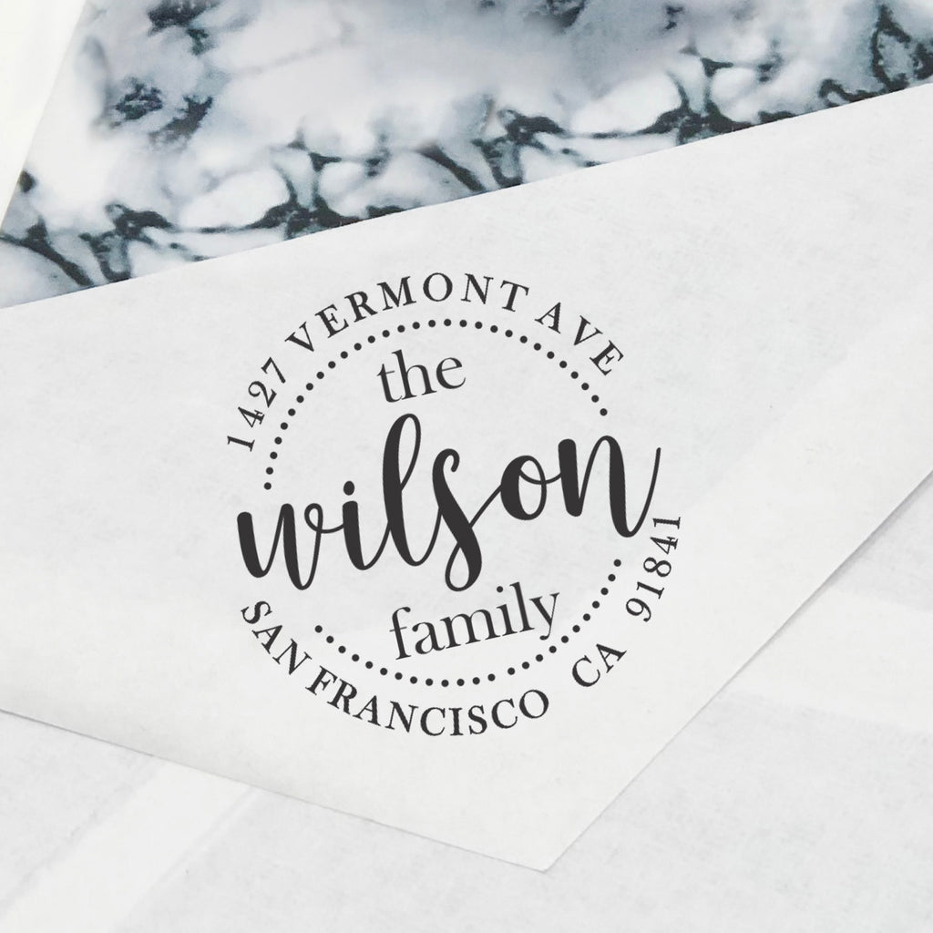 "Return Address Stamp, Custom Address Stamp, Personalized Stamp ""The Wilson Family"""