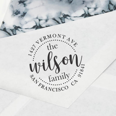 "Return Address Stamp- ""The Wilson Family"""