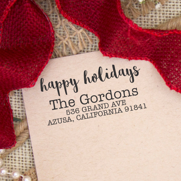 "Happy Holidays Custom Return Address Stamp, Personalized Holiday Return Address Stamp, Family Name Return Address Stamp ""The Gordons"""