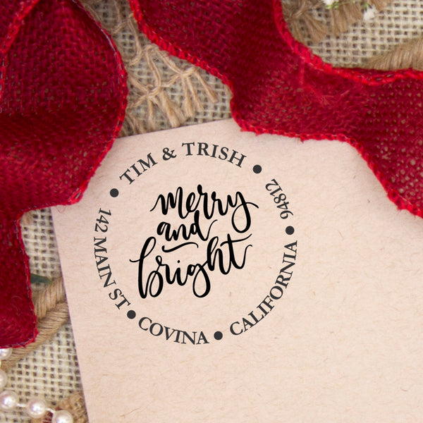 "Merry & Bright Christmas Return Address Stamp, Personalized Holiday Return Address Stamp, Family Name Return Address Stamp ""Tim & Trish"""