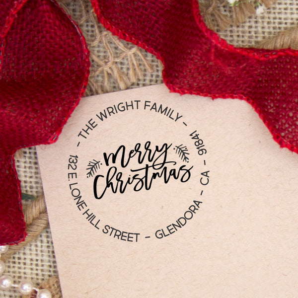 "Merry Christmas Return Address Stamp, Personalized Christmas Return Address Stamp, Family Name Return Address Stamp ""Wright Family"""